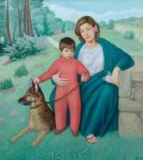 Mutter und Sohn mit Hund