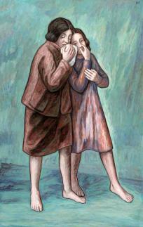 Schwankende Figuren, die einander stützen