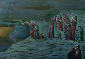 """Der Abschied oder Mutterschaft (IV)<br /><h5>Nach """"Mutter und Kind am Ufer des Meeres"""" von Picasso</h5>"""